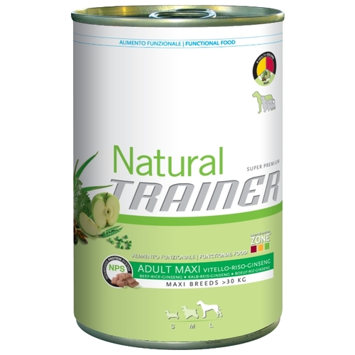 Корм для собак TRAINER Natural Adult Maxi Beef, Rice and Ginseng canned (0.4 кг) 1 шт.
