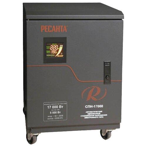 Стабилизатор напряжения однофазный РЕСАНТА СПН-17000 (17 кВт) черный стабилизатор напряжения однофазный solaris vsa 500 0 3 квт черный