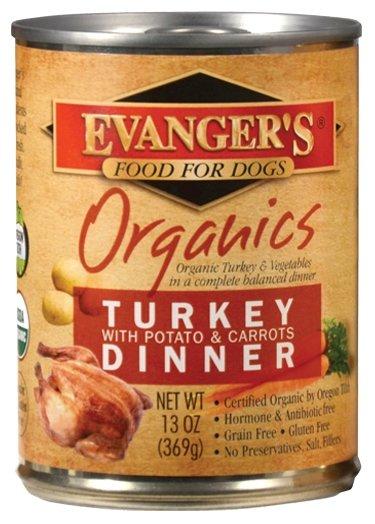 Корм для собак Evanger's Organic Turkey with Potato & Carrots Dinner консервы для собак (0.369 кг) 1 шт.