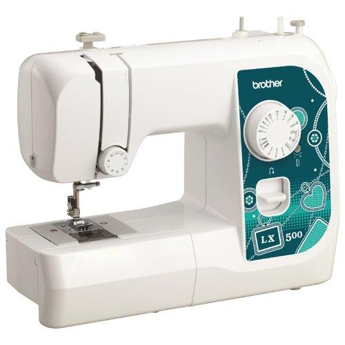 Фото - Швейная машина Brother LX-500, бело-зеленый швейная машина brother artcity 170s бело синий