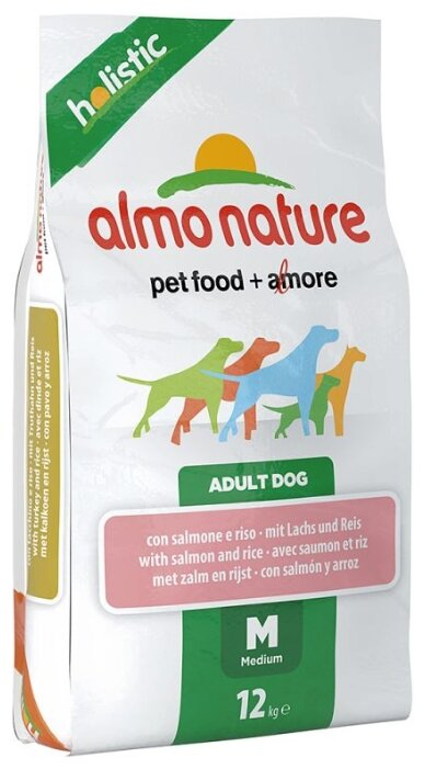Корм для собак Almo Nature Holistic Adult Dog Medium Salmon and Rice