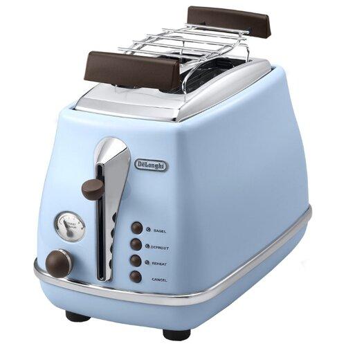 Тостер De'Longhi CTOV 2103.AZ Icona Vintage, голубой тостер de longhi ctoe 2103 bl icona elements синий