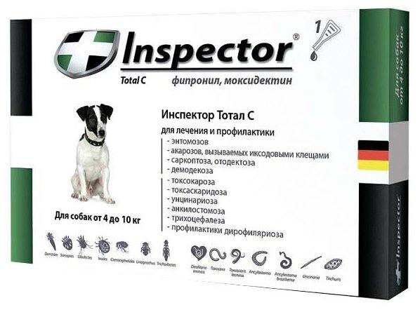 Инспектор (Inspector) капли от внешних и внутренних паразитов для собак от 4 до 10кг, 1 шт