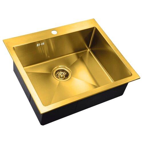 Фото - Врезная кухонная мойка 59 см ZorG PVD SZR-5951 BRONZE бронза врезная кухонная мойка 78 см zorg szr 78 2 51 r bronze бронза