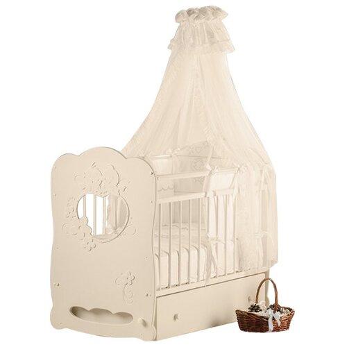 Кроватка Островок уюта Птенчики (классическая), поперечный маятник слоновая кость