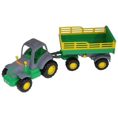 Фото - Трактор Полесье Крепыш с прицепом №2 (44563) 44 см трактор полесье алтай с прицепом 2 и ковшом 35363 66 см