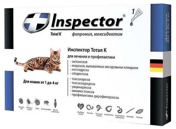 Инспектор Тотал К Inspector капли от внешних и внутренних паразитов для кошек до 4кг, 1 шт