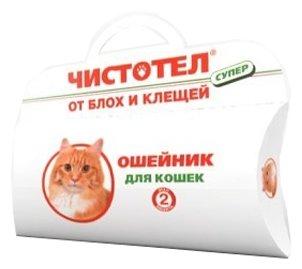 ЧИСТОТЕЛ Ошейник от блох и клещей для кошек 35 см (защита на 4 месяца) коробка
