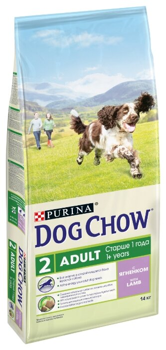 DOG CHOW Adult с ягненком для взрослых собак (14 кг)