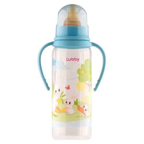 lubby бутылочка с соской малышарики 125 мл с рождения желтый Lubby Бутылочка с соской и ручками Весёлые животные, 250 мл с рождения, в ассортименте