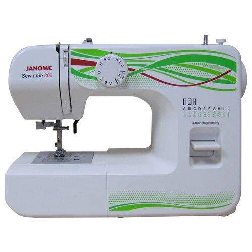 Швейная машина Janome Sew Line 200, белый/зеленый