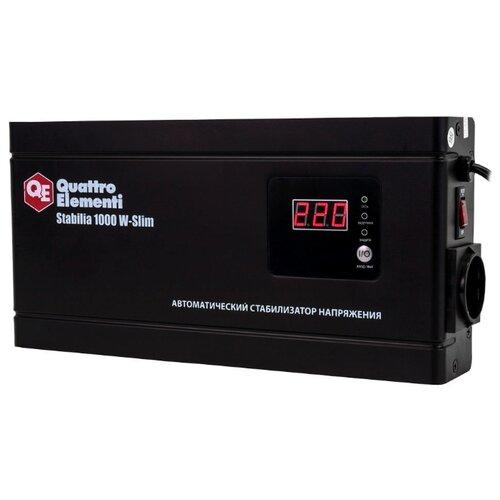 цена на Стабилизатор напряжения однофазный Quattro Elementi Stabilia W-Slim 1000 (0.6 кВт) черный