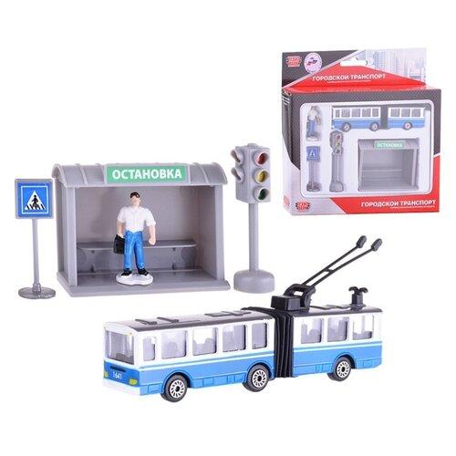 Купить ТЕХНОПАРК Городской транспорт Троллейбус с остановкой голубой/черный/белый/серый/зеленый, Детские парковки и гаражи