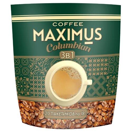 maximus nero кофе растворимый в стеклянной кружке 70 г Растворимый кофе Maximus Columbian 3 в 1, в пакетиках (20 шт.)