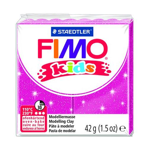 Полимерная глина FIMO kids 42 г блестящий розовый (8030-262)