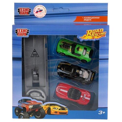 Купить Набор машин ТЕХНОПАРК Road Racing (1077-R) 7.5 см зеленый/черный/красный, Машинки и техника