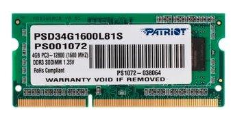 Patriot Memory Оперативная память Patriot Memory PSD34G1600L81S