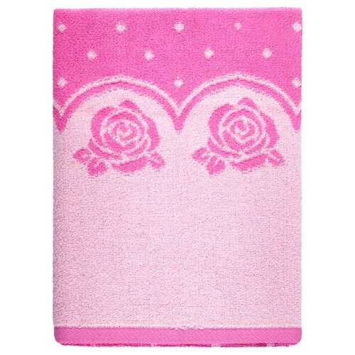 Aquarelle Полотенце Розы с точечками банное 70х140 см нежно-розовый/орхидея