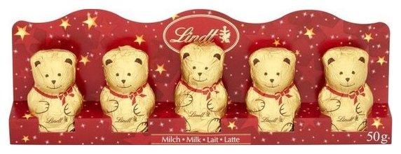 Фигурный шоколад Lindt Золотые Медведи мини, 50 г