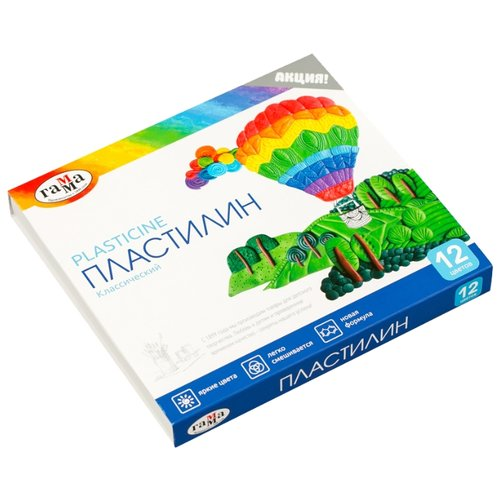 Пластилин ГАММА Классический 12 цветов 240 г со стеком (281033) пластилин hatber ушастики 12 цветов 240 грамм со стеком