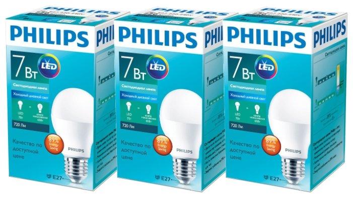 Упаковка светодиодных ламп 3 шт Philips E27, A60, 7Вт