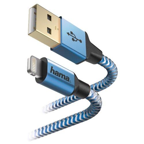 Кабель HAMA USB - Apple Lightning Reflective 1.5 м синий