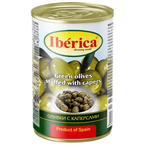 Iberica Оливки с каперсами в рассоле, жестяная банка 300 гМаслины, оливки, каперсы консервированные<br>