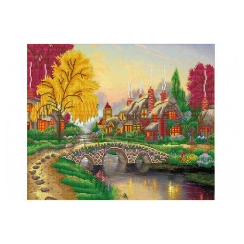 Купить Рыжий кот Набор алмазной вышивки Осенний пейзаж с озером (ASJ001) 60х50 см, Алмазная вышивка