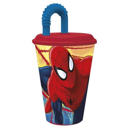 цена на Stor Стакан пластиковый с соломинкой и крышкой спортивный 430 мл Человек-паук Красная паутина
