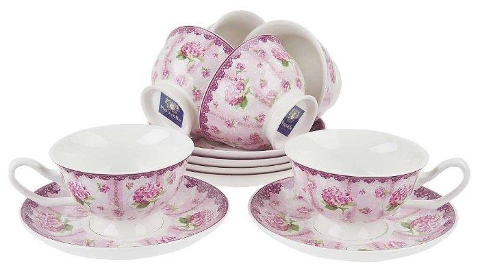 Чайный сервиз NOUVELLE Розовая гортензия, 12 предметов (6 персон)