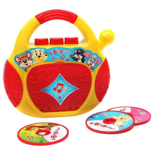 Интерактивная развивающая игрушка Азбукварик CD-плеер. Песенки-чудесенки красный/желтый