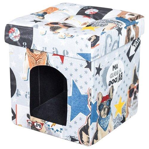 Будка для кошек DreamBag складная Бульдоги 37х37х40 см белый/голубой/желтыйЛежаки, домики, спальные места<br>