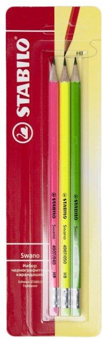 STABILO Набор чернографитных карандашей SWANO 3 шт (4907/HB-3B)