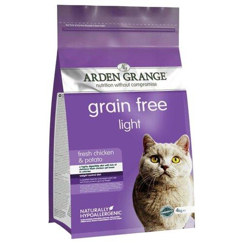 Корм для кошек Arden Grange Adult Cat Light курица и картофель сухой корм беззерновой, для взрослых кошек, диетический 4 кг