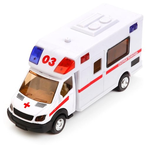 Купить Микроавтобус ТЕХНОПАРК Скорая помощь со светом и звуком (1022S-R) 17 см белый, Машинки и техника