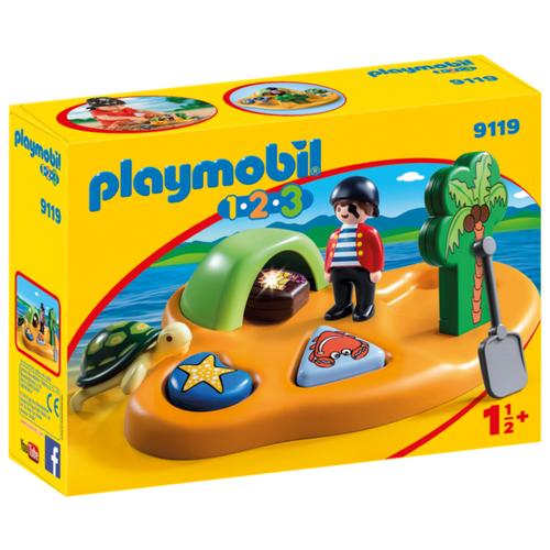 Купить Набор с элементами конструктора Playmobil 1-2-3 9119 Пиратский остров, Конструкторы