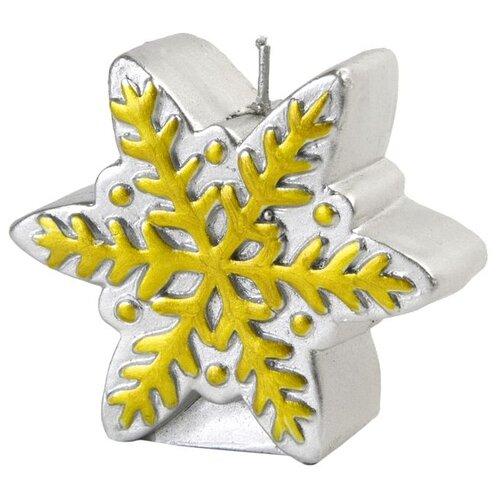 Свеча Феникс Present новогодняя Снежинка (78314 / 78315 / 78316) серебряная