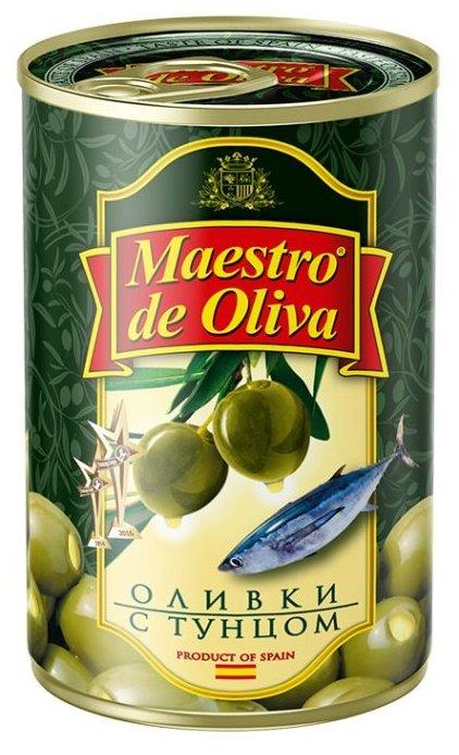 Maestro De Oliva Оливки с тунцом в рассоле, жестяная банка 300 г