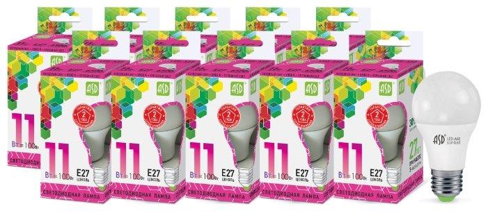 Упаковка светодиодных ламп 10 шт ASD LED-standard E27, A60, 11Вт, 6500К
