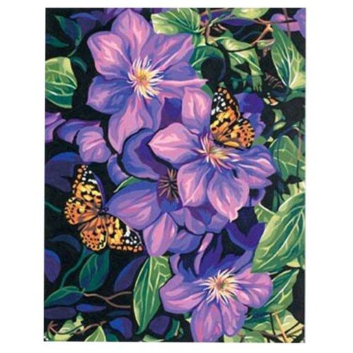 Dimensions Картина по номерам Клематисы и бабочки 28х36 см (DMS-91403) кпр 013 фреска картина из песка радужные бабочки 20х23х4
