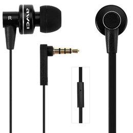 Наушники и Bluetooth-гарнитуры - Awei ES900I вакуумные наушники с микрофоном чёрные, 0