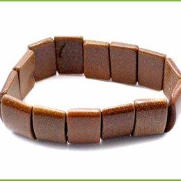 Браслеты - БРАСЛЕТ 17см авантюрин 37,5гр. на резинках, 0