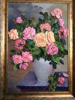 Картины, постеры, гобелены, панно - Картина «Запах розы» вышивка лентами, 0