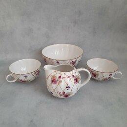Посуда - Молочник, сахарница и две чашки лфз, 1950 гг, 0