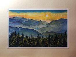 Картины, постеры, гобелены, панно - Туманное утро в горах. Пейзаж. Гуашь.Картина, 0