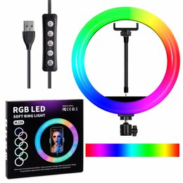 Осветительное оборудование - Кольцевая лампа RGB LED MJ26 26 см с держателем для смартфона, 0