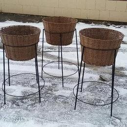 Плетеная мебель - Напольная корзина (ротанг) на металлической стойке, 0