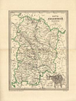 Гравюры, литографии, карты - 1871 год. Большая старинная карта Рязанской…, 0