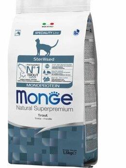 Корма  - Monge Cat Monoprotein Sterilised Trout корм для…, 0