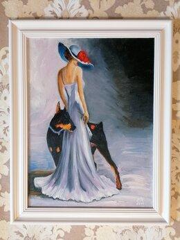 Картины, постеры, гобелены, панно - Картина маслом с девушкой Дама в шляпе с собакой…, 0